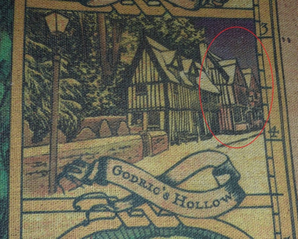 De Vere House in an embroidered image of Godric's Hollow