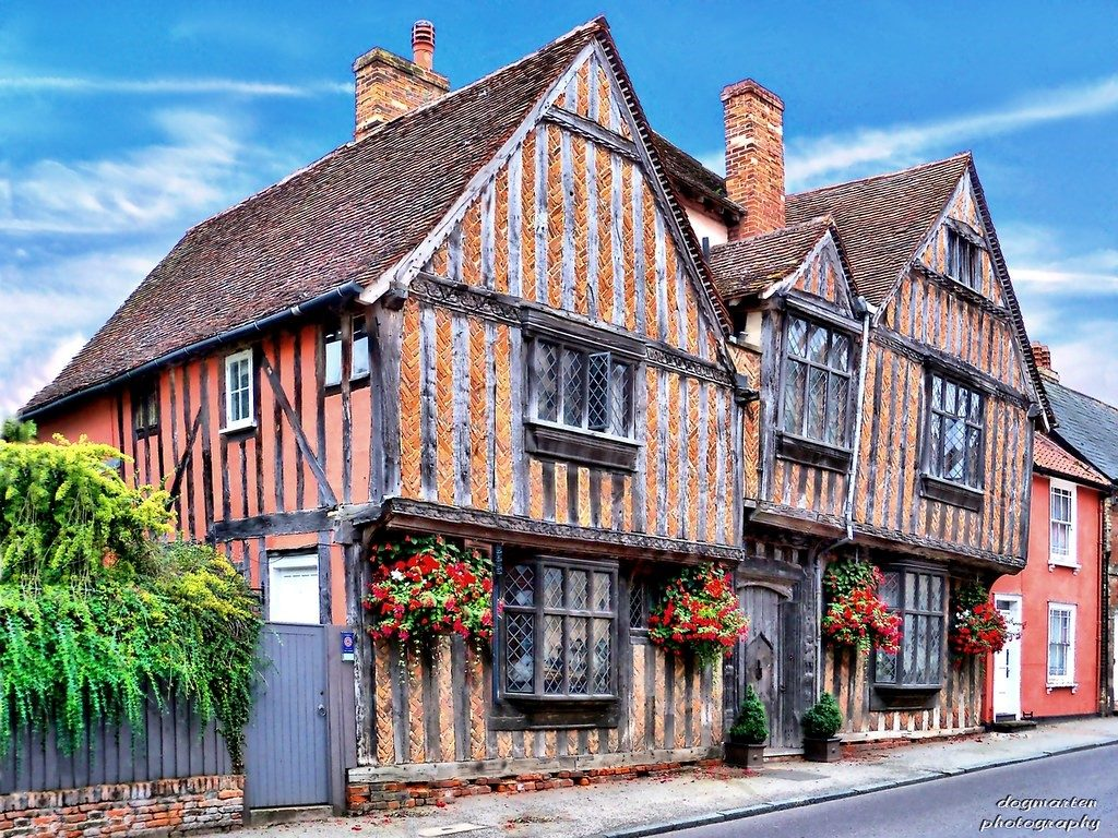 De Vere House Lavenham with Blue Sky