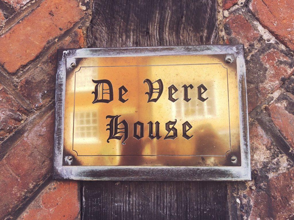Plaque reading De Vere House